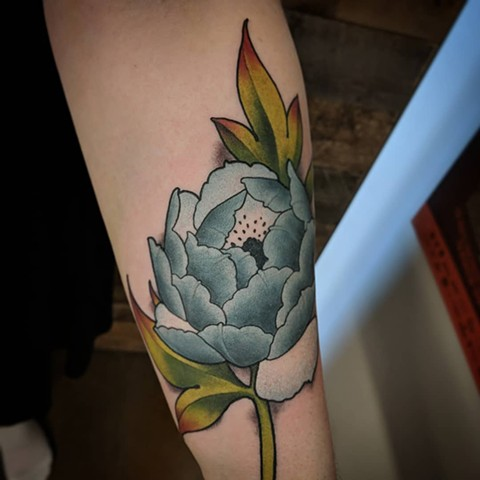 Peony Tattoo By Landon Wierenga Color Crimson Empire Tattoo