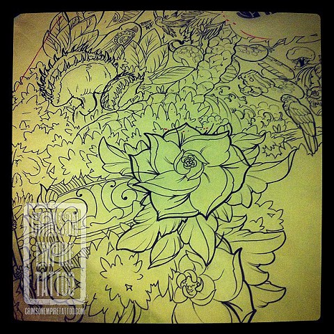 Mask and Flowers Sketch by Jared Phair