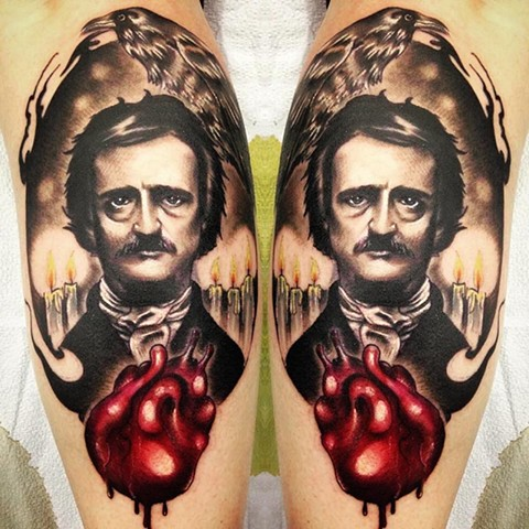 Edgar Allan Poe Tattoo By Samantha Storey Black And Grey With Color Crimson Empire Tattoo