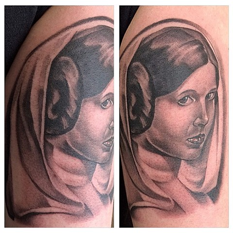 Star Wars Princess Leia Tattoo By Chad Lavers  Black And Grey Crimson Empire Tattoo