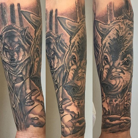 Wolves And Trees Tattoo By Curt Smeniuk Black And Grey Crimson Empire Tattoo