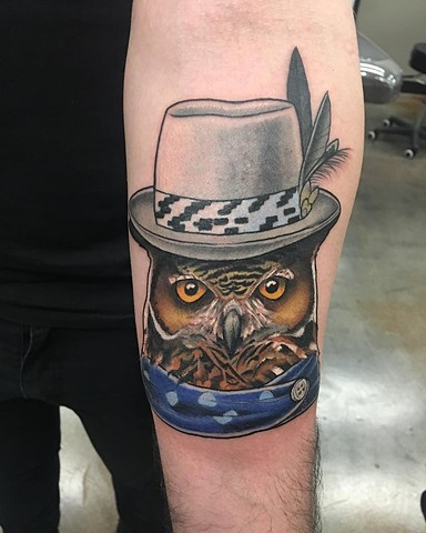 Tragically Hip Inspired Owl Tattoo By Curt Semeniuk Color Crimson Empire Tattoo