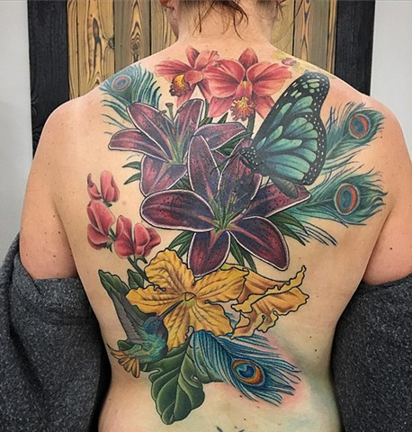 Floral with Peacock Feathers Back Tattoo By Dale Moostoos Color Crimson Empire Tattoo