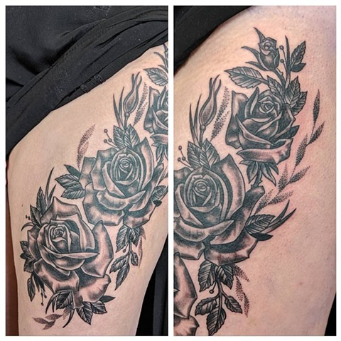 Roses Thigh Tattoo by Sheila Anderson black and grey Crimson Empire Tattoo