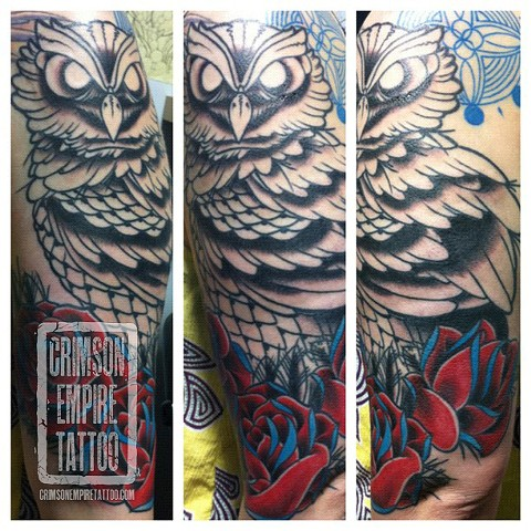 Owl and Roses sleeve by Jared phair