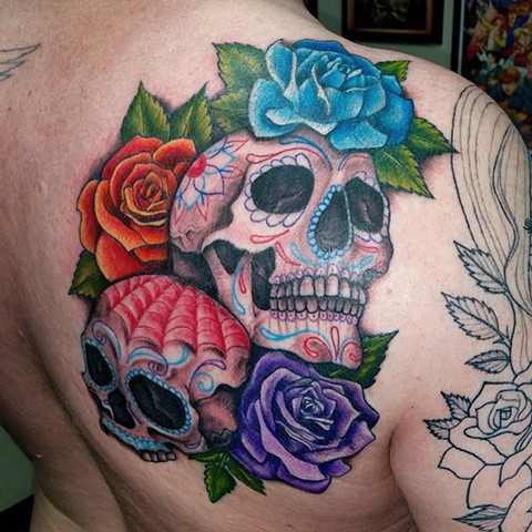 Day Of The Dead Skull With Roses Tattoo By Jess Alther Color Black Gold Tattoo Co