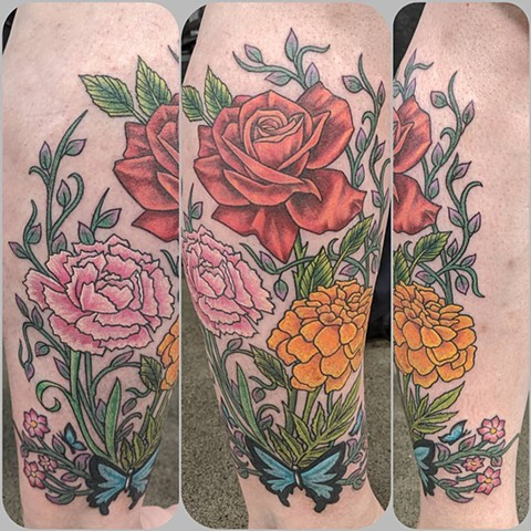Floral Leg Tattoo by Sheila Anderson Color Crimson Empire Tattoo