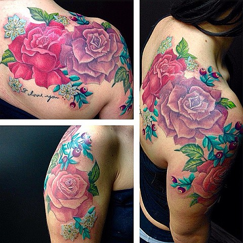 Roses And Berries Tattoo By Jess Alther Color Black Gold Tattoo Co