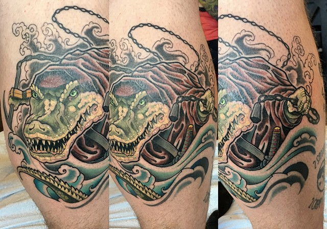 Ninja Alligator Tattoo By Curt Semeniuk Color Crimson Empire Tattoo