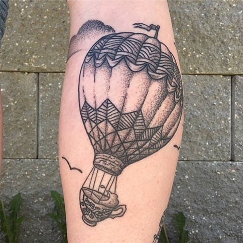 Hot Air Balloon And Tea Cup Tattoo By Vanessa Spezowka Pointillism Crimson Empire Tattoo