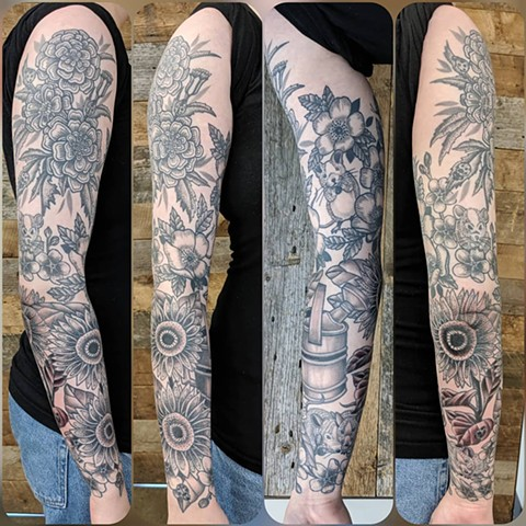 Floral Full Sleeve Tattoo by Sheila Anderson Black and Grey Crimson Empire Tattoo