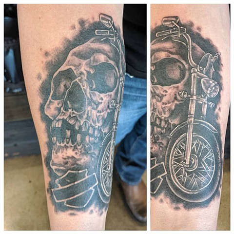 Skull and Motorcycle Forearm Tattoo by Sheila Anderson Black and Grey Crimson Empire Tattoo