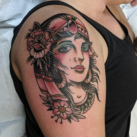 Traditional Woman Half Sleeve  Tattoo by Chris Benson Color Crimson Empire Tattoo
