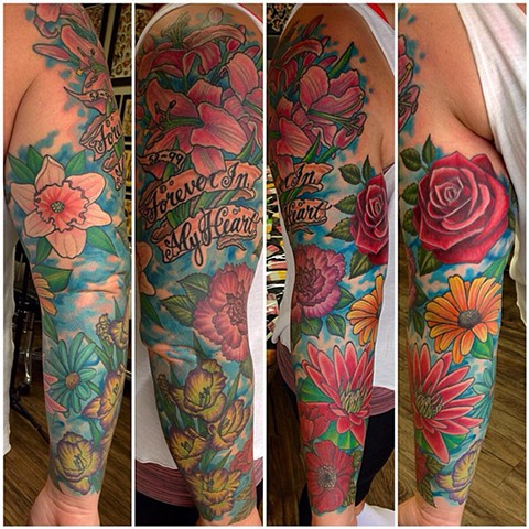 Floral Tattoo By Jess Alther Color Black Gold Tattoo Co