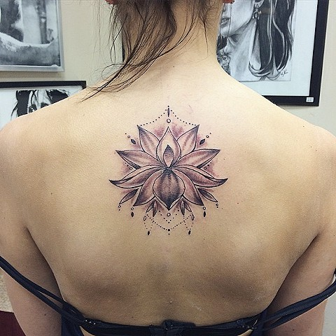 Lotus Tattoo By Sarah Michelle Black And Grey Black Gold Tattoo Co