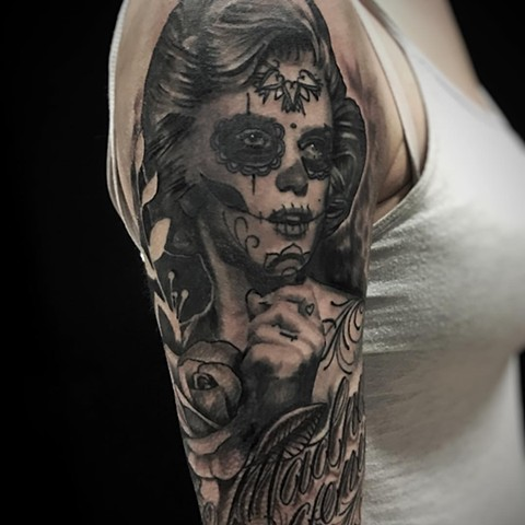 Day Of The Dead Girl Tattoo By Alan Coates Black And Grey Black Gold Tattoo Co