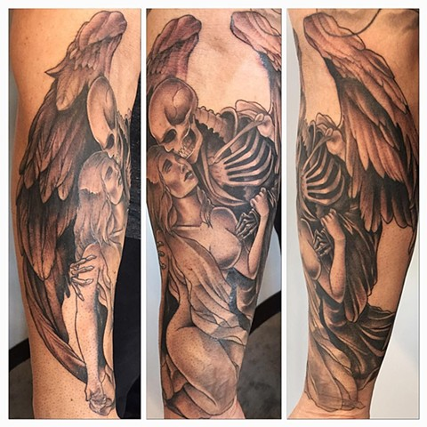 Kiss of Death inspired Angel and Woman Tattoo By Chad Black and Grey Crimson Empire Tattoo