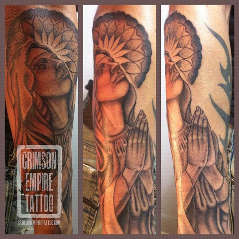 Mary sleeve on forearm by Curt Semeniuk. Follow Curt @ol_curty_bastard