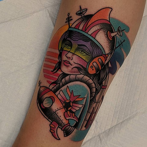 Traditional Space Woman Leg Tattoo By Chris Benson Color Crimson Empire Tattoo