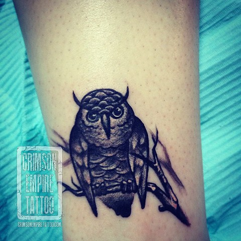 Small Owl on forearm by Chad Clothier