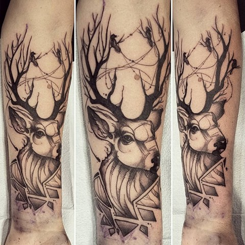 Geometric Deer Tattoo By Adrienne Alexander Black Work Crimson Empire Tattoo