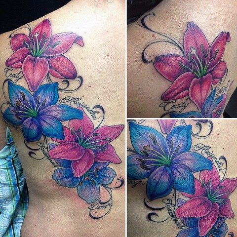 Lilies With Script Tattoo By Jess Alther Color Black Gold Tattoo Co