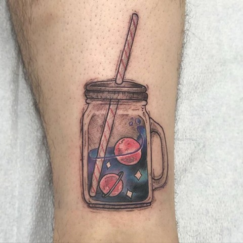 Space in a Cup Leg Tattoo by Vanessa Spezowka Color Crimson Empire Tattoo