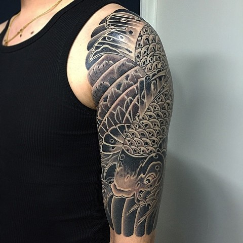 Koi Fish Tattoo By Guka Black And Grey Black Gold Tattoo Co