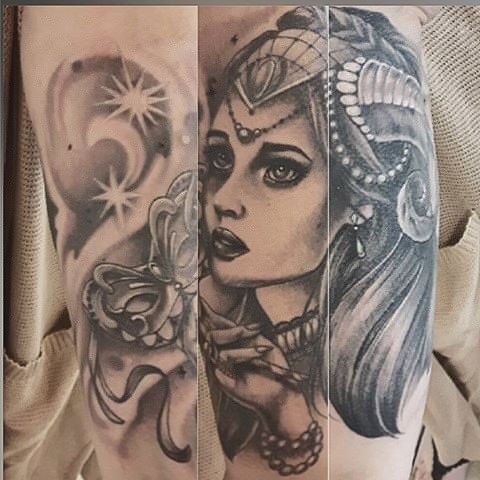 Masquerade Girl Tattoo By Sarah Michelle Black And Grey Black Gold Tattoo Co