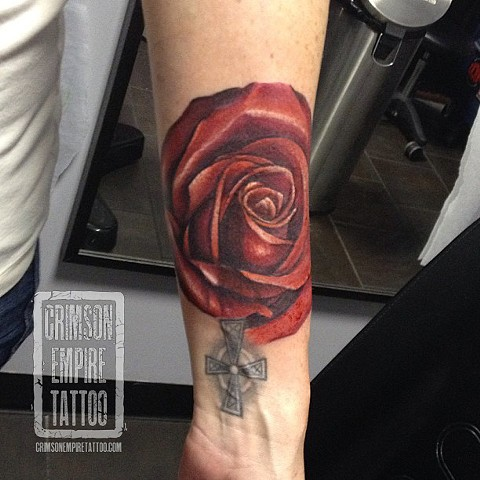 Rose Cross on forearm by Josh Lamoureux