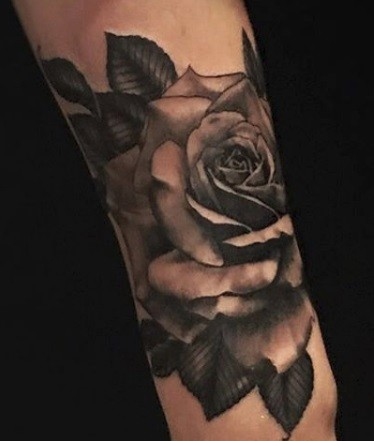 Rose Tattoo By Alan Coates Black And Grey Black Gold Tattoo Co