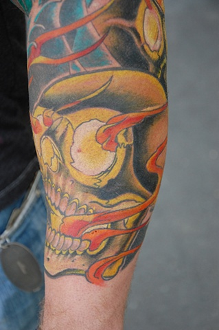 Flaming Skull 2 Tattoo