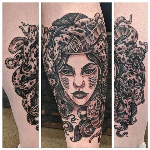 Medusa Leg Tattoo by Sheila Anderson Black and Grey Crimson Empire Tattoo