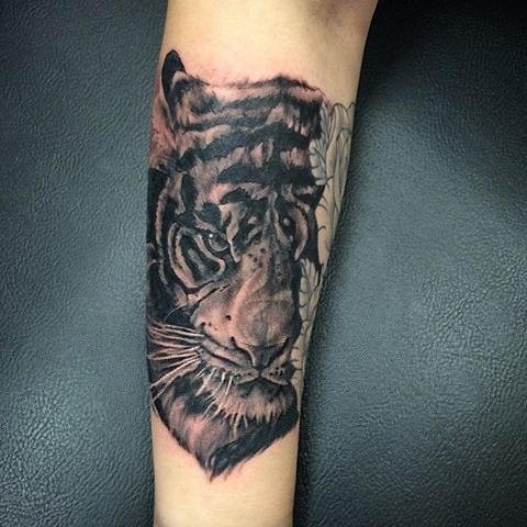 Tiger Portrait Tattoo By Sarah Michelle Black And Grey Black Gold Tattoo Co
