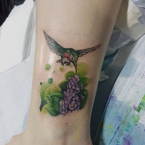 Humming Bird And Flowers Tattoo By Kevin Sherritt Color Crimson Empire Tattoo