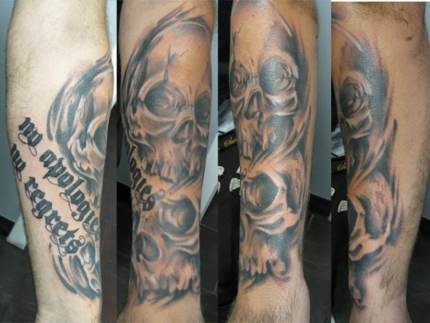 No Regrets and No Apologies Forearm Skulls