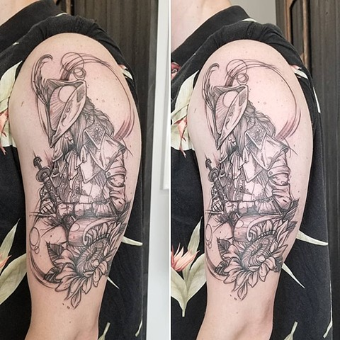 Bloodborne Arm Tattoo by Adrienne Alexander Sketch Style Crimson Empire Tattoo