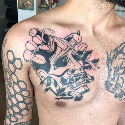 Hannya Mask Chest Tattoo by Curt Semeniuk Blackwork Crimson Empire Tattoo