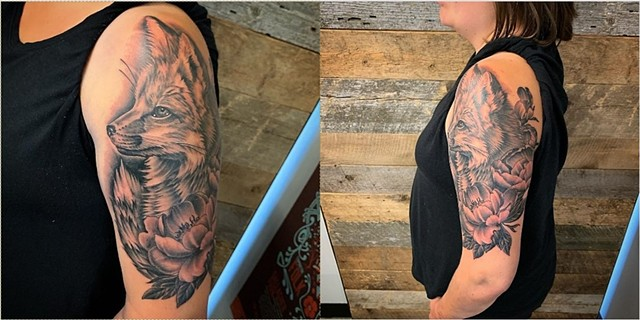 Fox Half Sleeve Tattoo by Dale Moostoos Black and Grey Crimson Empire Tattoo