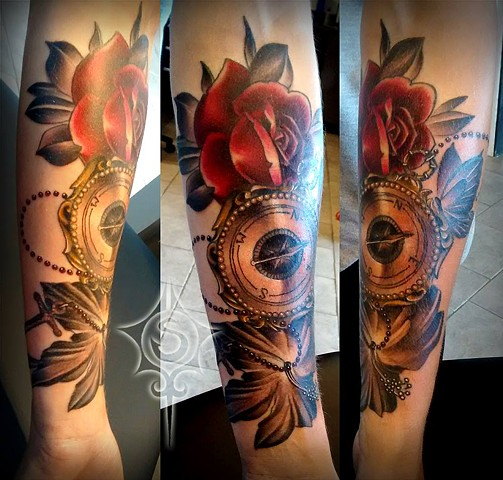 Rose And Compass Tattoo By Samantha Storey Black And Grey With Color Crimson Empire Tattoo