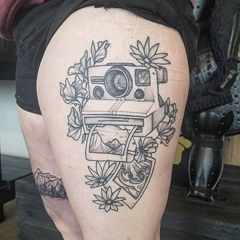 Camera Thigh Tattoo by Adrienne Alexander Black Work Crimson Empire Tattoo