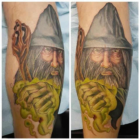Lord Of The Rings Gandalf Tattoo By Kevin Sherritt Color Crimson Empire Tattoo