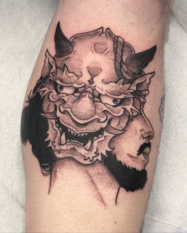 Oni Masked Man Tattoo by Vanessa Spezowka Blackwork Crimson Empire Tattoo