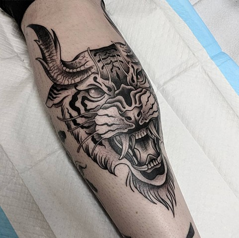 Tiger Leg Tattoo by Chris Benson Black and Grey Crimson Empire Tattoo
