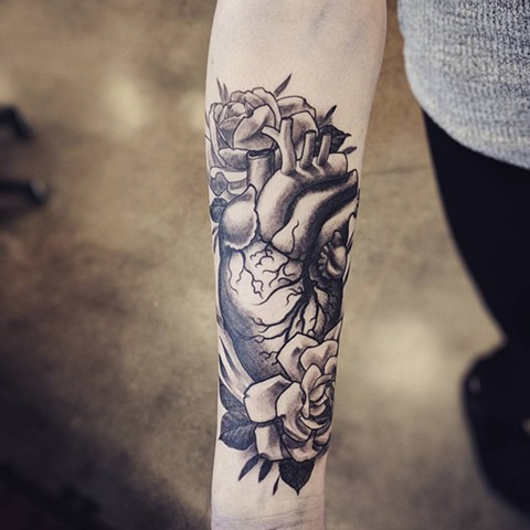 Heart And Flowers Tattoo By Landon Wierenga Black And Grey Crimson Empire Tattoo