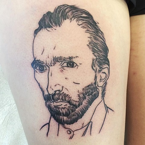 Van Gogh Tattoo By Chad Lavers Black And Grey Crimson Empire Tattoo