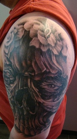 Grey Shade Skull Tattoo