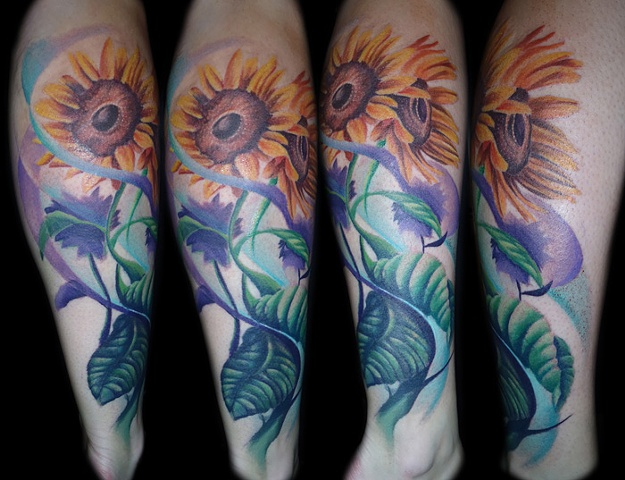 Sunflowers Tattoo By Josh Lamoureux Color Crimson Empire Tattoo