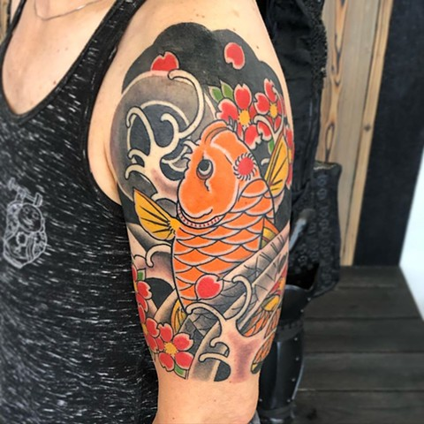 Japanese Coy Fish Hald Sleeve Tattoo by Curt Semeniuk Color Crimson Empire Tattoo