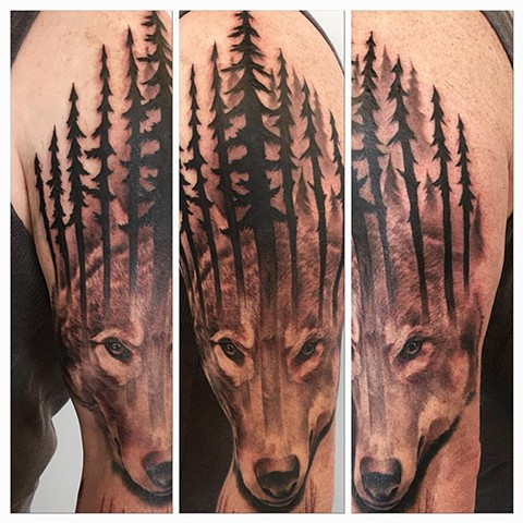 Wolf With Trees Tattoo By Chad Lavers Black and Grey Crimson Empire Tattoo
